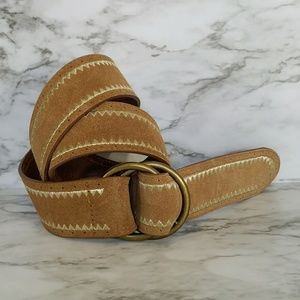 Leather belt with gold tribal stitching